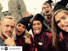 Photobombing a selfie with Tom Felton (aka Draco Malfoy) at The Wizarding World of Harry Potter.